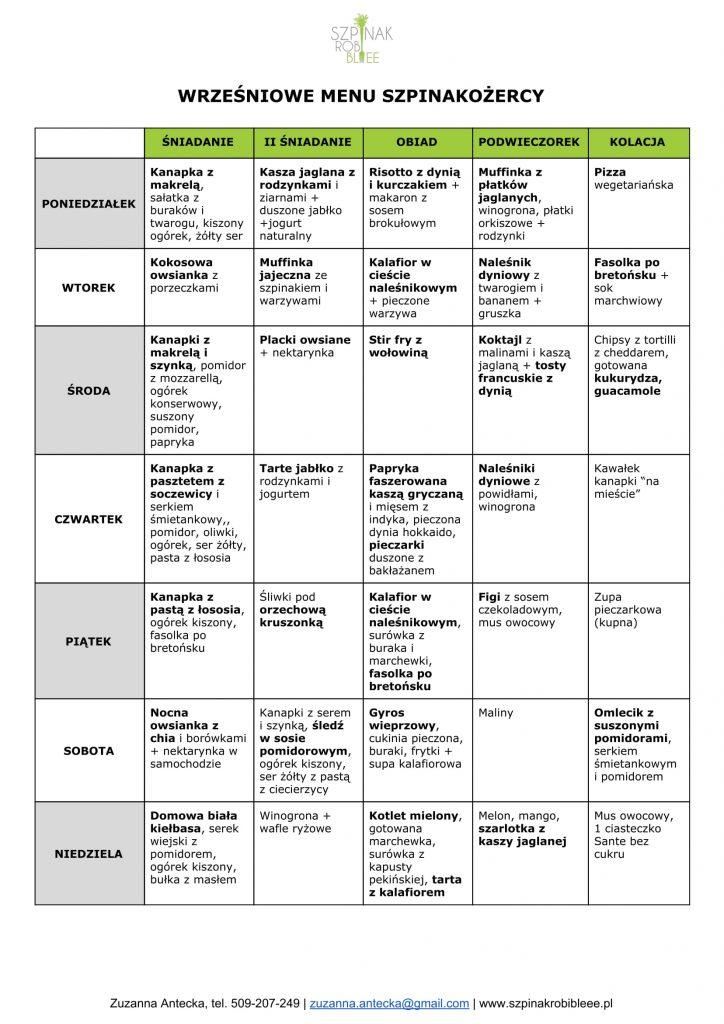 wrześniowe menu Szpinakożercy